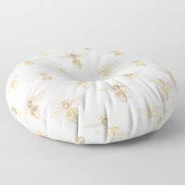 Chic Gold and White Bee Patten Floor Pillow