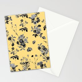Black and White Floral on Yellow Stationery Cards