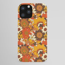 Retro 70s Flower Power, Floral, Orange Brown Yellow Psychedelic Pattern iPhone Case