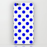 polka dots iPhone & iPod Skins featuring Polka Dots (Blue/White) by 10813 Apparel