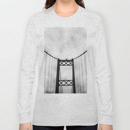 Vintage Monochromatic Black and White Bridge with Clouds Fine Art Print Long Sleeve T-shirt