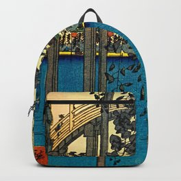 Hiroshige View Of Bridge Over Water Backpack