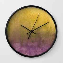 eggplant and gold watercolor Wall Clock