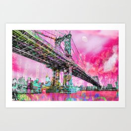 New York City Manhattan Bridge Red Art Print