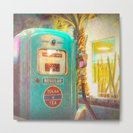 Tulsa Tea Gas Pump Metal Print