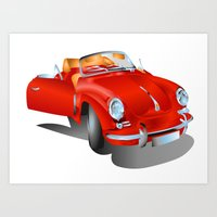 porsche Art Prints featuring Porsche by Paola Canti