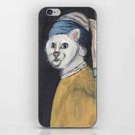 cat with a pearl earring iPhone Skin
