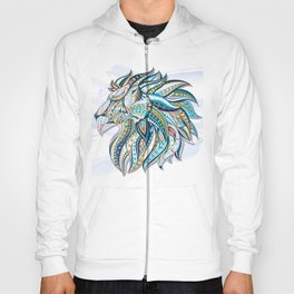 Zentangle head of the lion on the grunge background Hoody