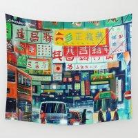 hong kong Wall Tapestries featuring Hong Kong by Corrado Pizzi