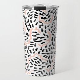 Katli - abstract dots swirls minimal black and white pastel pink pattern decor Travel Mug