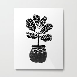 Fiddle Leaf Fig tree linocut black and white minimal modern lino carving monochromatic trendy art Metal Print
