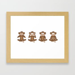 Four Wise Monkeys Framed Art Print