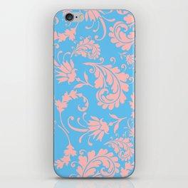 Vintage chic blue coral pink floral damask iPhone Skin