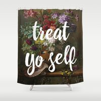 treat yo self Shower Curtains featuring treat yo self by cicelysiller