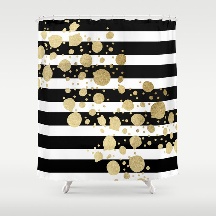 Faux Gold Paint Splatter On Black White Stripes Shower Curtain By
