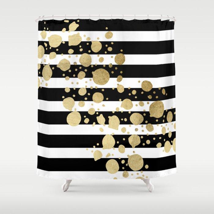 Faux Gold Paint Splatter On Black White Stripes Shower Curtain