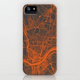 Cincinnati map orange iPhone Case