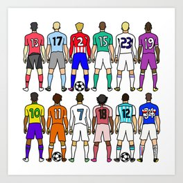 Soccer Backs Art Print