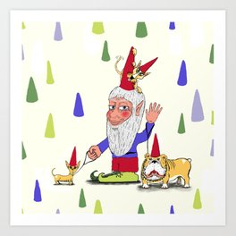 A gnome, two dogs, and a cat Art Print