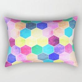 Honeycombs print, colorful hexagons Rectangular Pillow