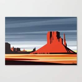 Monument Valley sunset magic realisim Canvas Print