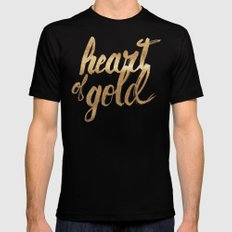Heart of Gold MEDIUM Mens Fitted Tee Black