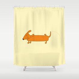 Cute pissing dachshund Shower Curtain