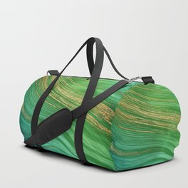 Green Mermaid Glamour Marble With Gold Veins Duffle Bag