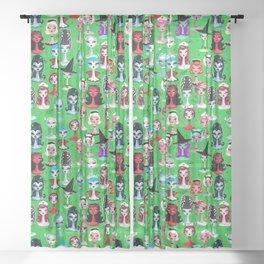 Spooky Dolls on Green Sheer Curtain