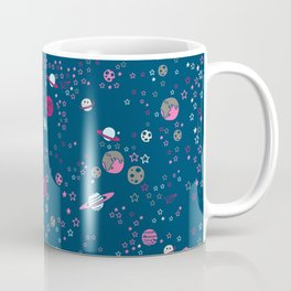 Cute Space Pattern with Stars, Planets and Meteorites Coffee Mug