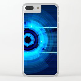 Blue Neon Light Circles Clear iPhone Case