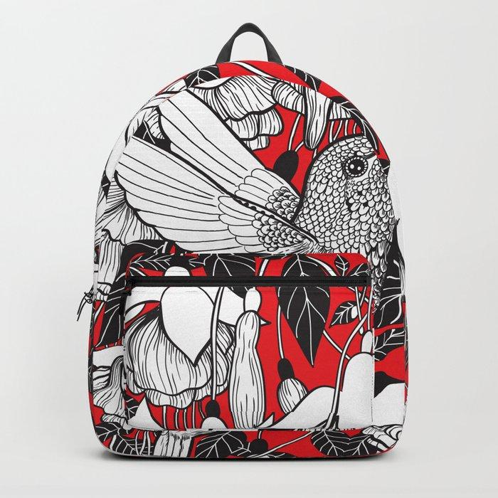 Hummingbird and fuchsia, red background Backpack