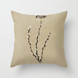 Chickadee And Pussy Willow Throw Pillow