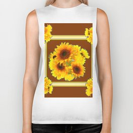 CHOCOLATE BROWN YELLOW SUNFLOWER BOUQUETS Biker Tank