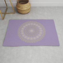 Lotus Mandala in Lavender and Gold Rug