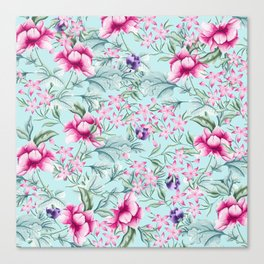 Floral Pattern Mint Canvas Print