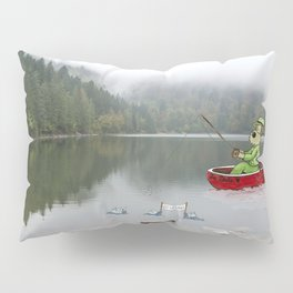 Go Vegan! A Terrier Fishing Adventure - With Fish Protesters - Funny Photoshop Montage Pillow Sham