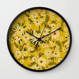 Yellow Floral Print Drawing Wall Clock