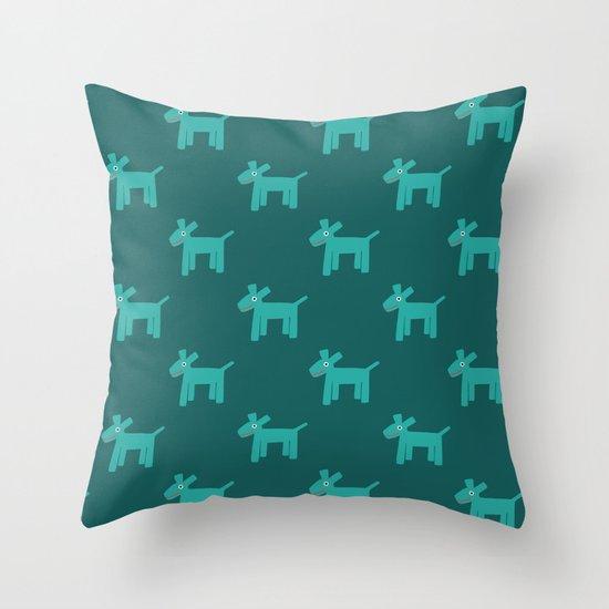 Dogs-Teal Throw Pillow