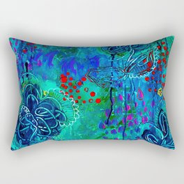 In Too Deep - Blue Abstract Flowers Rectangular Pillow