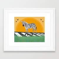 zebra Framed Art Prints featuring Zebra by Nir P