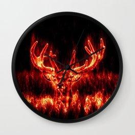 Fire Deer Wall Clock