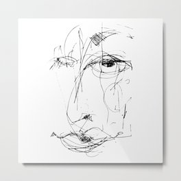 Doodle Face 15 by Kathy Morton Stanion Metal Print