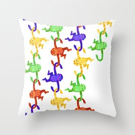 Barrel of Monkeys Throw Pillow