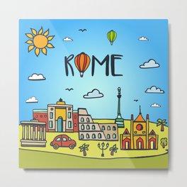 Rome Illustration with Famous Landmarks Metal Print
