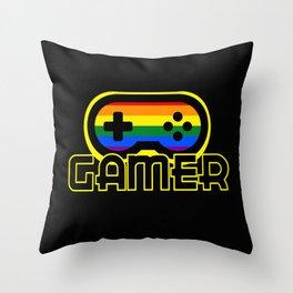 Rainbow Gamer Throw Pillow