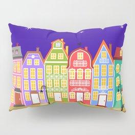 Cute Night Town Cartoon Houses Pillow Sham