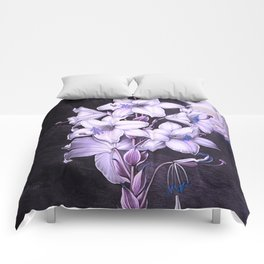 The White Lily w/ Variegated-leaves Lavender Temple of Flora Comforters