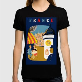 Vintage France Sidewalk Cafe Travel T-shirt