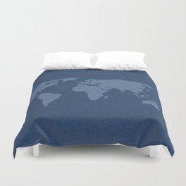 Denim Map Duvet Cover